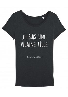 Tee-shirt col rond Je suis une Vilaine Fille bio