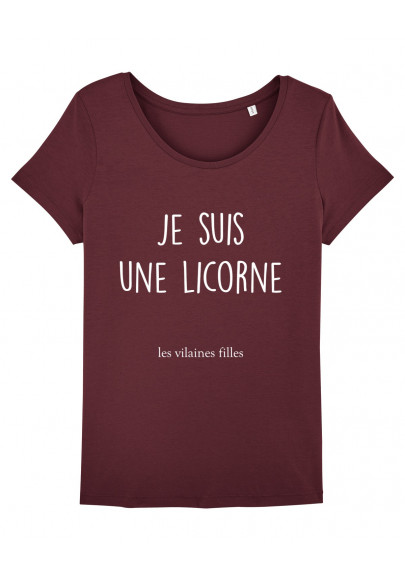 Tee-shirt col rond Je suis une licorne