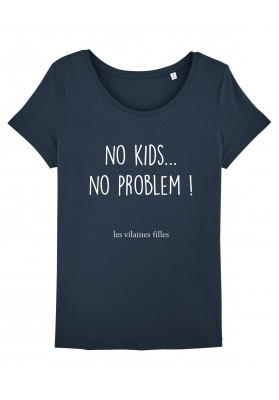 Tee-shirt col rond No kids no problem bio