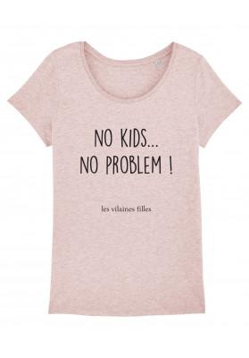 Tee-shirt col rond No kids no problem bio