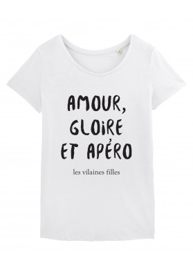 Tee-shirt col rond Amour gloire et apéro bio