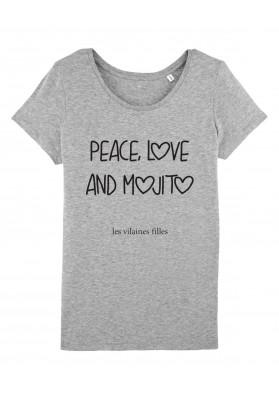 Tee-shirt col rond Peace love and mojito bio
