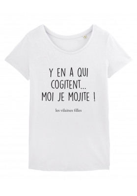 Tee-shirt col rond Y en a qui cogitent moi je mojite bio
