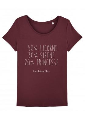 Tee-shirt col rond Licorne, sirène et princesse bio
