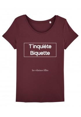 Tee-shirt col rond T'inquiètes biquette bio