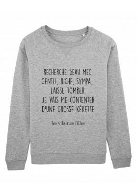 Sweat col rond Recherche beau mec bio