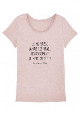 Tee-shirt col rond Je ne baisse jamais les bras bio