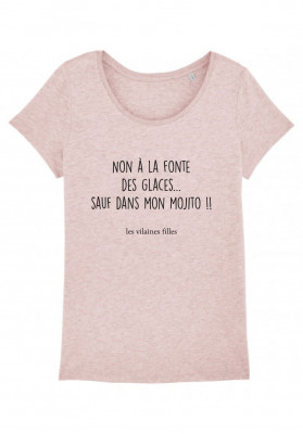 Tee-shirt col rond Non à la fonte des glaces sauf dans mon mojito bio