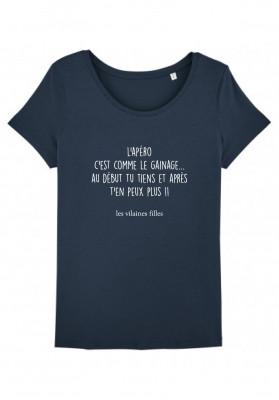 Tee-shirt col rond L'apéro, c'est comme le gainage bio