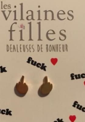 Boucles d'oreilles FUCK métal doré