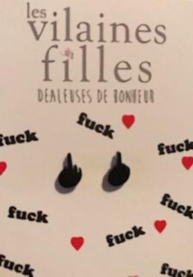 Boucles d'oreilles FUCK métal noir