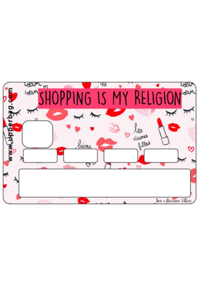 Sticker pour cb Shopping is my religion