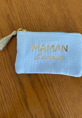 Pochette Maman d'amour bleu Taille S  Mila