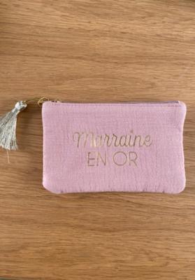 Pochette Marraine en or Vieux rose Taille S  Mila
