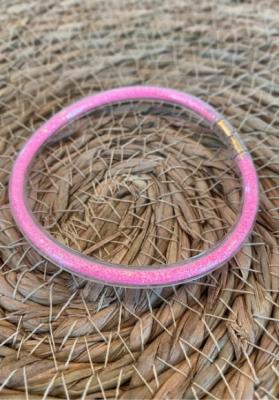 Bracelet jonc paillettes plastique rose fluo