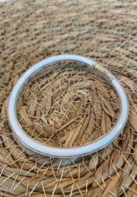 Bracelet jonc paillettes plastique blanc
