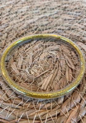 Bracelet jonc paillettes plastique doré