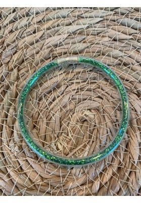 Bracelet jonc paillettes plastique vert