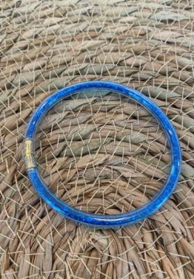 Bracelet jonc paillettes plastique bleu foncé
